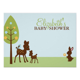 Woodland Animals Baby Shower Poster