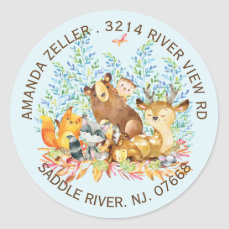 Woodland Animals Baby Shower Return Address Label