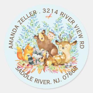 Woodland Animals Baby Shower Return Address Label