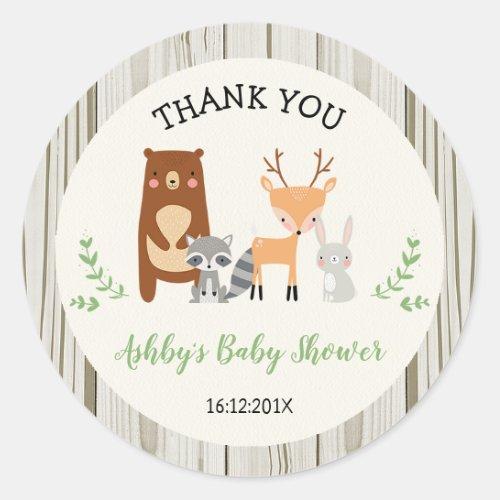 Woodland Animals Baby Shower Sticker