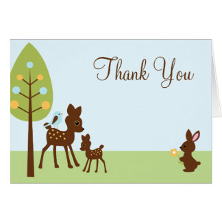 Woodland Animals Baby Shower Thank You Greeting Card