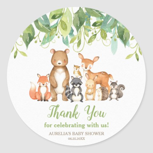 Woodland Animals Baby Shower Thank You Favors Classic Round Sticker