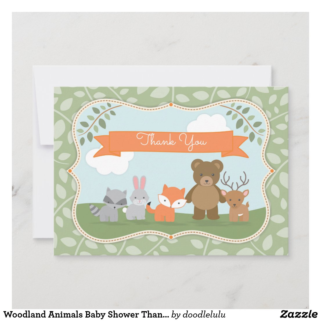 Woodland Animals Baby Shower Thank You green blue