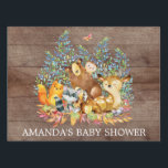 """Woodland Animals Baby Shower Yard Sign<br><div class=""""desc"""">Cute woodland animals for a baby boy shower. Our cute forest scene featuring a beer,  deer,  fox,  owl,  raccoon,  &amp; moose. Matching items available in our shop.</div>"""