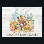 "Woodland Animals Baby Shower Yard Sign<br><div class=""desc"">Cute woodland animals for a gender neutral baby shower. Our cute forest scene featuring a beer,  deer,  fox,  owl,  raccoon,  &amp; moose. Matching items available in our shop.</div>"