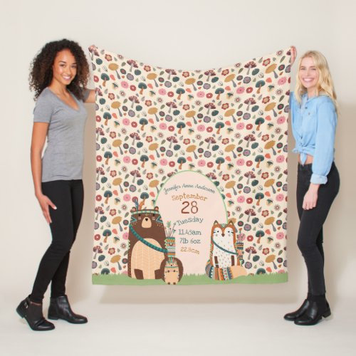 Woodland Animals BABY STATS Boy Girl Room Decor Fleece Blanket