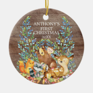 Woodland Animals Babys First Christmas Ornament