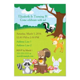 Woodland Animals Birthday Party Invitation