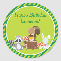 Woodland Animals Birthday Party | Personalized Classic Round Sticker