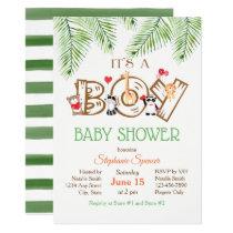 Woodland Animals Boy Baby Shower Invitation