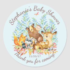 Woodland Animals Boys Baby Shower Favor Sticker