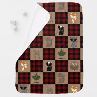 Woodland Animals Buffalo Plaid Baby Blanket
