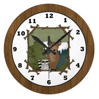 Woodland animals cartoon wall clock