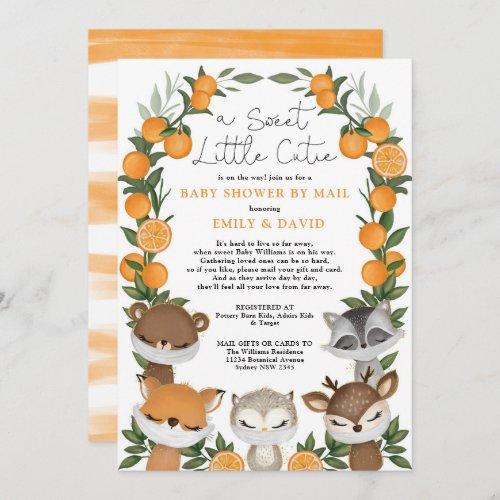 Woodland Animals Citrus Orange Baby Shower By Mail Invitation