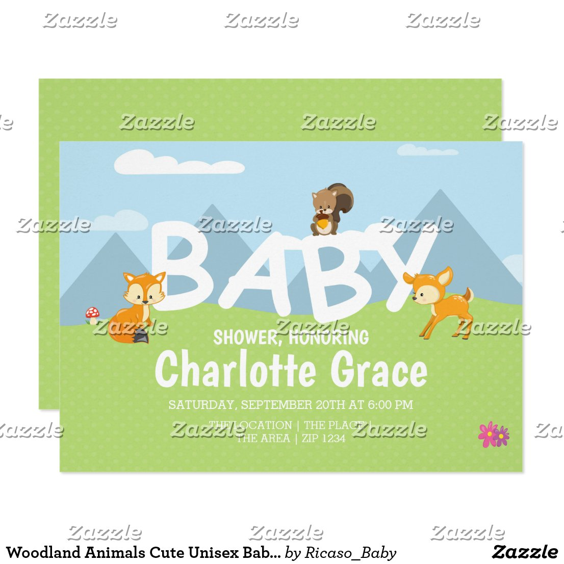 Woodland Animals Cute Unisex Baby Shower Invitation