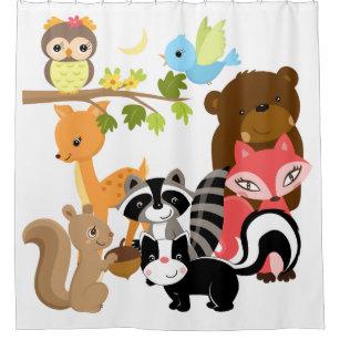 Woodland Animals Deer Fox Raccoon Bear Owl Shower Curtain