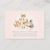Woodland Animals Deer Raccoon Fox Diaper Raffle Enclosure Card