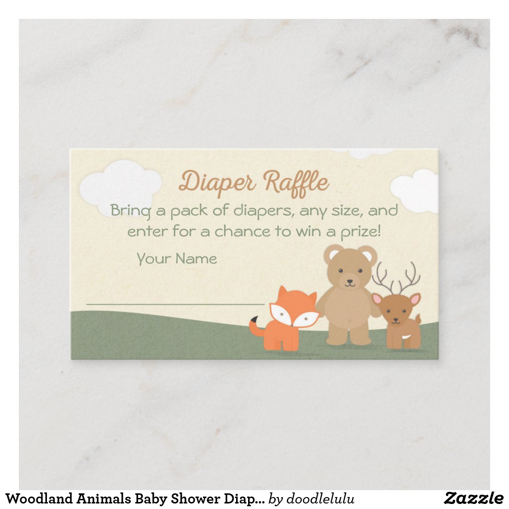 Woodland Animals Diaper Raffle Ticket Enclosure Card