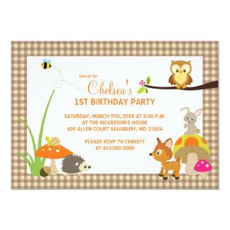 "Woodland Animals First Birthday Invitations 5"" X 7"" Invitation Card"