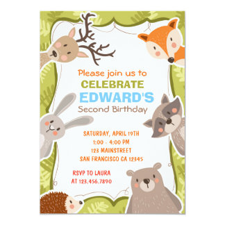 Woodland Animals Forest Birthday Party Invition Card