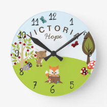 Woodland Animals Forest Friends Fox Nursery Round Clock
