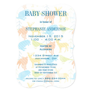 "Woodland Animals Fox Baby Boy Shower Invitations 5"" X 7"" Invitation Card"