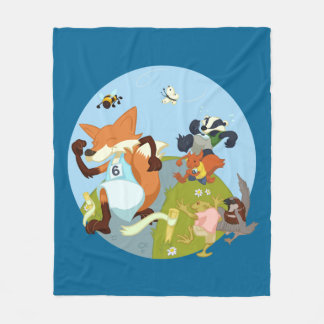 Woodland Animals Fun Running Fox & Badger Cartoon Fleece Blanket