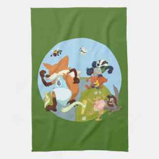 Woodland Animals Fun Running Fox & Badger Cartoon Hand Towel