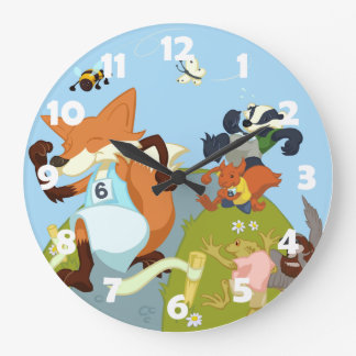 Woodland Animals Fun Running Fox & Badger Cartoon Large Clock