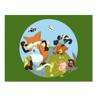 Woodland Animals Fun Running Fox & Badger Cartoon Postcard