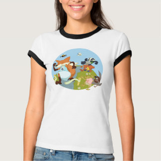Woodland Animals Fun Running Fox & Badger Cartoon T-Shirt