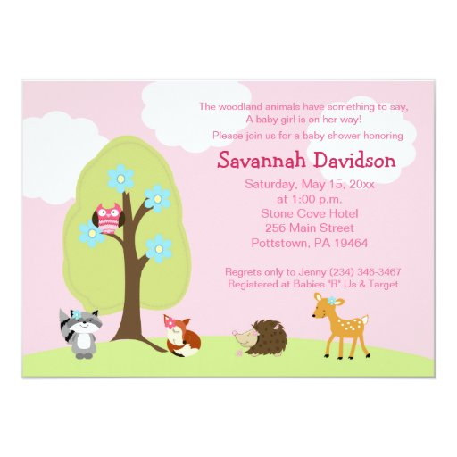Woodland Animals Girl Baby Shower Invitation