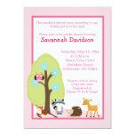 "Woodland Animals Girl Baby Shower Invitation 5"" X 7"" Invitation Card"