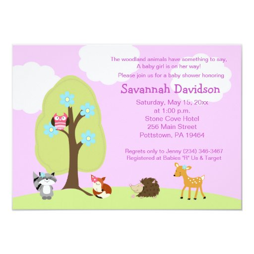 Woodland Animals Girl Lavender Baby Shower Card