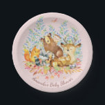 "Woodland Animals Girls Baby Shower 7&quot; Plate<br><div class=""desc"">Cute woodland animals for a baby girl shower. Our cute forest scene featuring a beer,  deer,  fox,  owl,  raccoon,  &amp; moose. Matching items available in our shop.</div>"