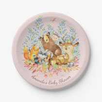 "Woodland Animals Girls Baby Shower 7"" Plate"