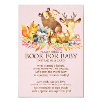 Woodland Animals Girls Baby Shower Book for Baby Card