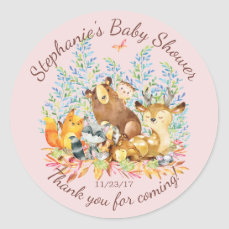 Woodland Animals Girls Baby Shower Favor Sticker