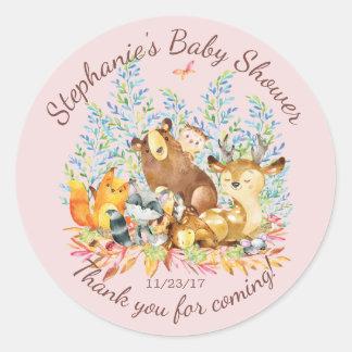 Woodland Animals Girls Baby Shower Favor Sticker