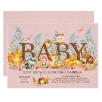 Woodland Animals Girls Baby Shower Invitation