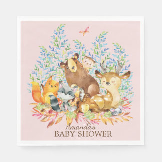 Woodland Animals Girls Baby Shower Paper Napkins