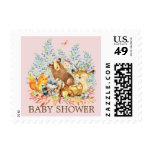 Woodland Animals Girls Baby Shower Postage Stamp