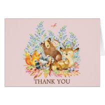 Woodland Animals Girls Baby Shower Thank You Note