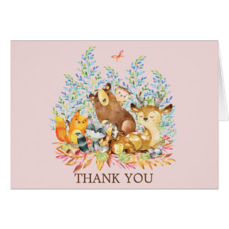 Woodland Animals Girls Baby Shower Thank You Note