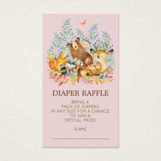 Woodland Animals Girls Shower Diaper Raffle Ticket