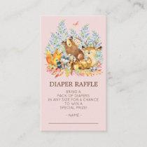 Woodland Animals Girls Shower Diaper Raffle Ticket Enclosure Card