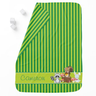 Woodland Animals | Green Stripes | Personalized Stroller Blanket