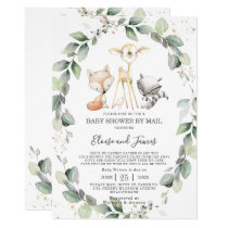 Woodland Animals Greenery Baby Shower by Mail Invitation