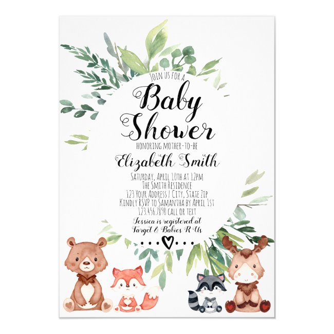 Woodland Animals Greenery Baby Shower Invitation