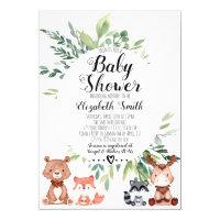 Woodland Animals Greenery Baby Shower Invitation